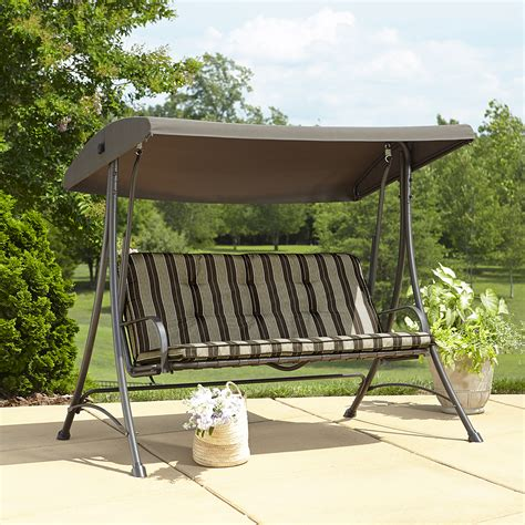 outdoor patio swing with canopy garden oasis 3 seat swing with canopy
