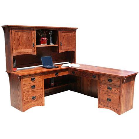 oak l shaped desk desks american mission oakl shaped desk w hutch 641 mh