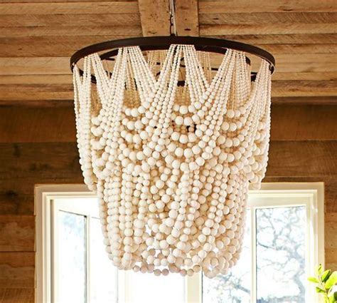 elena wood bead chandelier pottery barn