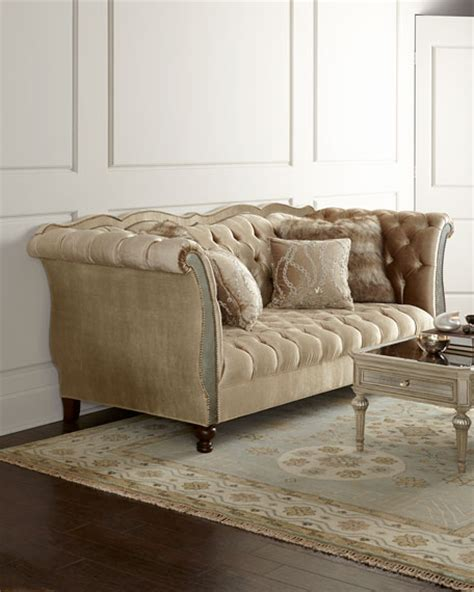Haute House Sofa by Haute House Leslie Mirrored Tufted Sofa