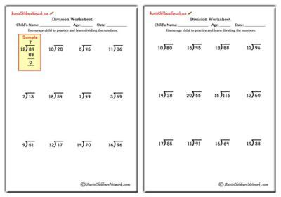 mixed division worksheets with and without remainders aussie childcare network