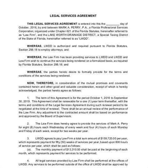 legal services agreement templates