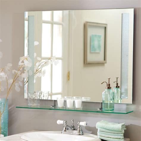 decor wonderland frameless roxi wall mirror  shelf