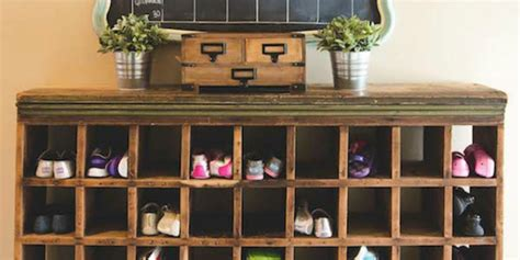 remodelaholic build  vintage mail sorter shoe cubby