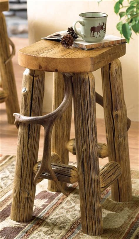 Log Stool - rustic rooms canadian log homes