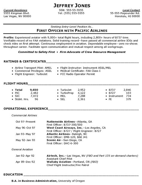 Resume For Airline by Commercial Airline Pilot Resume Cv Airline