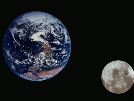 Earth The Moon Seen From Space Photographic Print