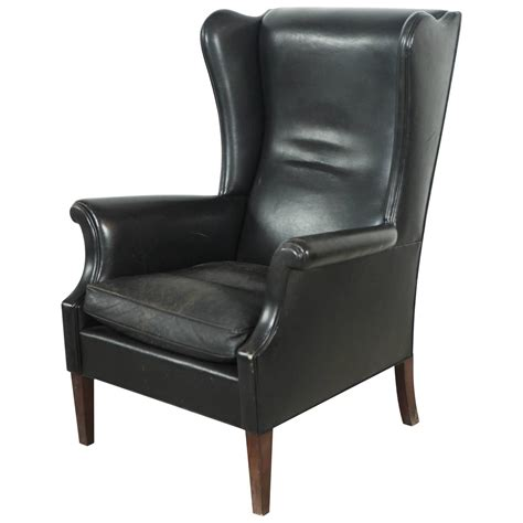 wingback chair black leather high wingback chair at 1stdibs