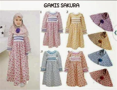 Momsneed'shop Baju Muslim Anak  Gamis Sakura Set Baju