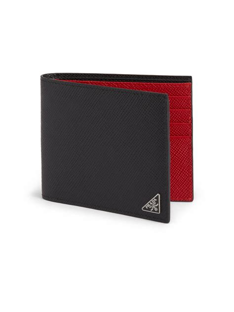 Widest selection of new season & sale only at lyst.com. Prada Saffiano Cuir Billfold Wallet in Red for Men (black-red)   Lyst