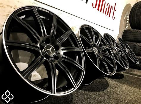 """Mercedes amg alloy wheels alloys with tyres pcd 5x112 r18 centre bore 66.6. BRAND NEW MERCEDES 19"""" AMG STYLE ALLOY WHEELS- 5x112-MATTE BLACK WITH DIAMOND CUT FINISH-Wheel ..."""