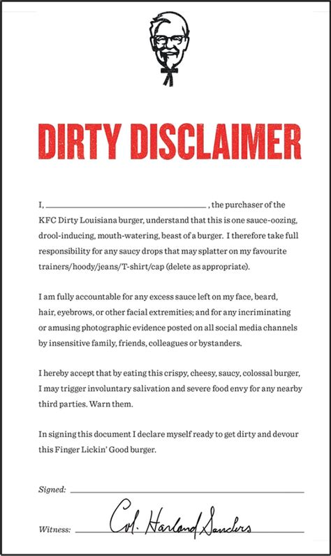 187 before eating at kfc in the uk you must sign a disclaimer