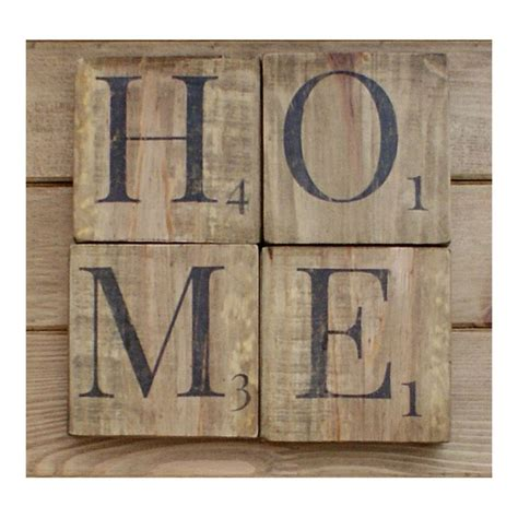 home sign wooden scrabble letters wood wall art reclaimed