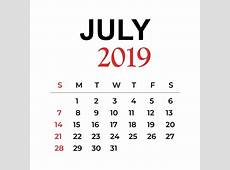 Calendário Do Mês De Julho 2019 Calendário Vector ANO PNG