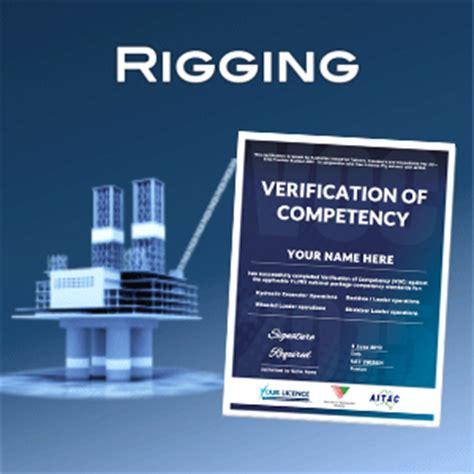 verification  competency rigging voc  licence
