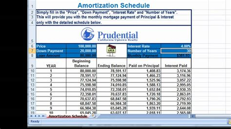 excel amortization mortgage payment calculator youtube