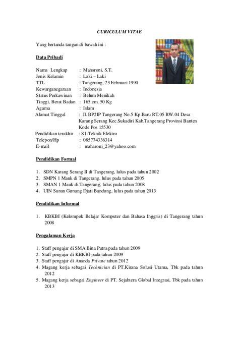contoh surat curriculum vitae bahasa indonesia cv nabila