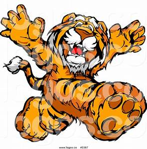 Royalty Free Vector of a Logo of a Happy Tiger Running ...