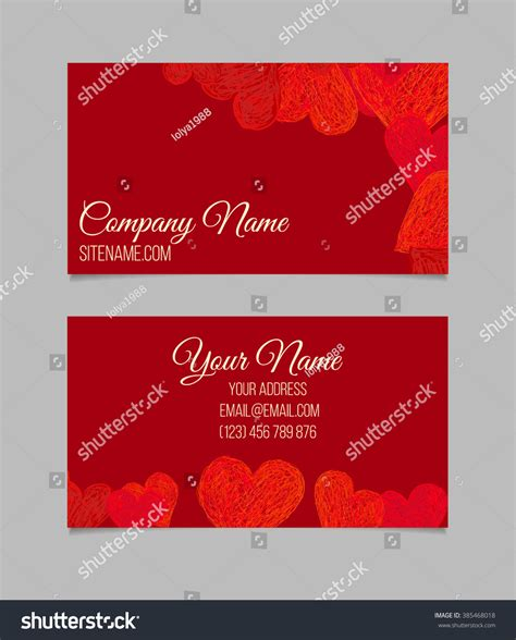 business card template doodle heart shapes stock vector