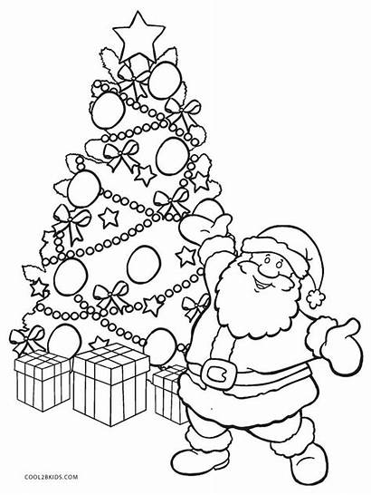 Coloring Tree Christmas Santa Pages Printable