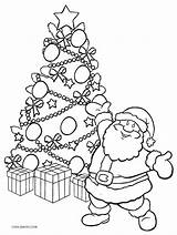 Coloring Tree Santa Holiday Cool2bkids sketch template