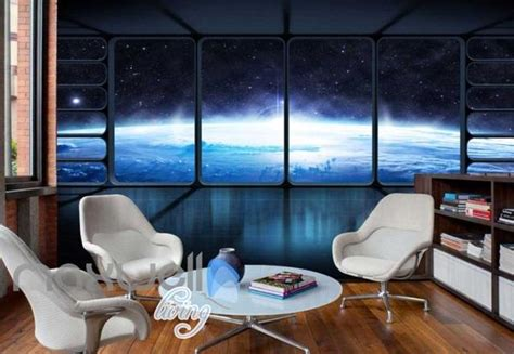 view  space  spaceship art wall murals wallpaper