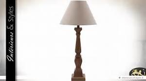 Abat Jour Salon : lampe de salon pied en ch ne abat jour coton cru int rieurs styles ~ Teatrodelosmanantiales.com Idées de Décoration