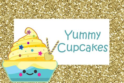 cupcake birthday party glitter cupcake food label tent