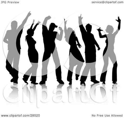 clipart illustration   group   black silhouetted