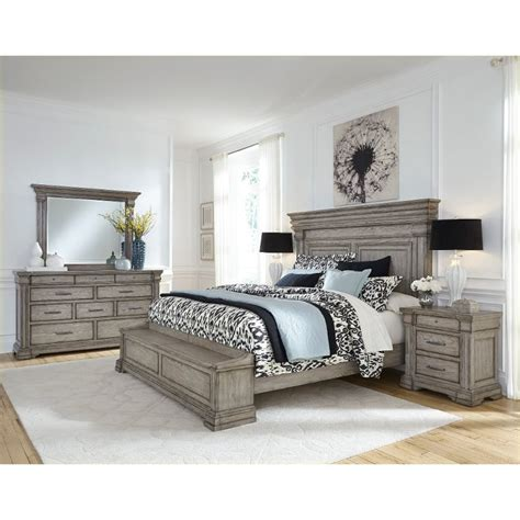 King Bedroom Set by Classic Traditional Gray 4 King Bedroom Set