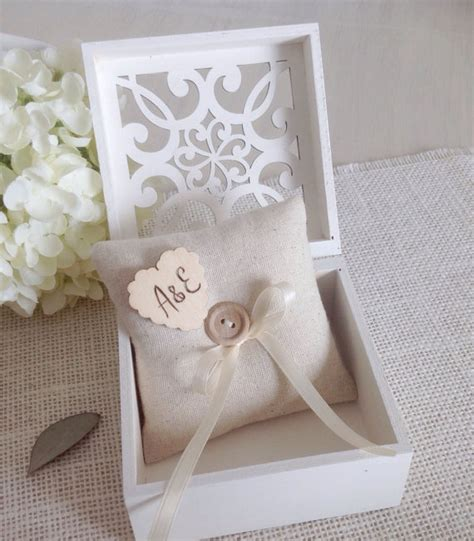 ring bearer box with personalized ring pillow white or ivory wood wedding ring box with lace