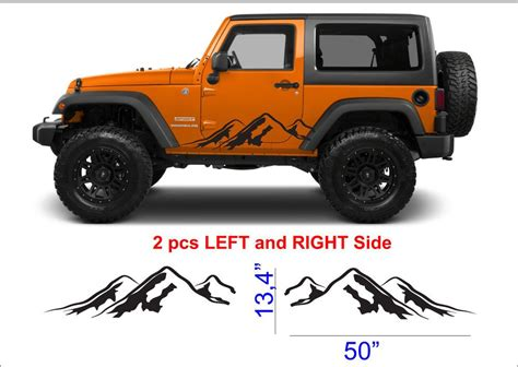 mountain jeep decals 2pcs mountain fender side decal sets graphic jeep wrangler