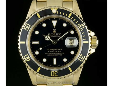 Rolex 18k Yellow Gold Black Dial Submariner Date Gents ...