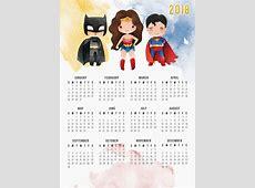 Free Printable 2018 Justice League Calendar Batman
