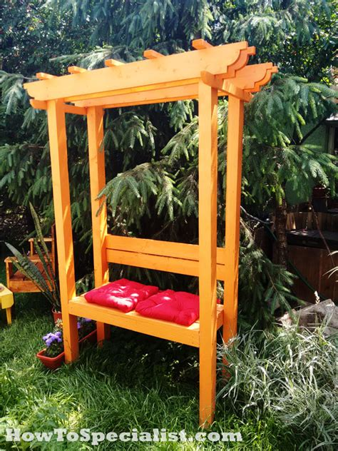 Arbor With Bench by How To Build A Garden Arbor With Bench Howtospecialist