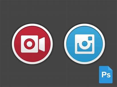 Instagram Buttons Flat Psd Round Button Phone