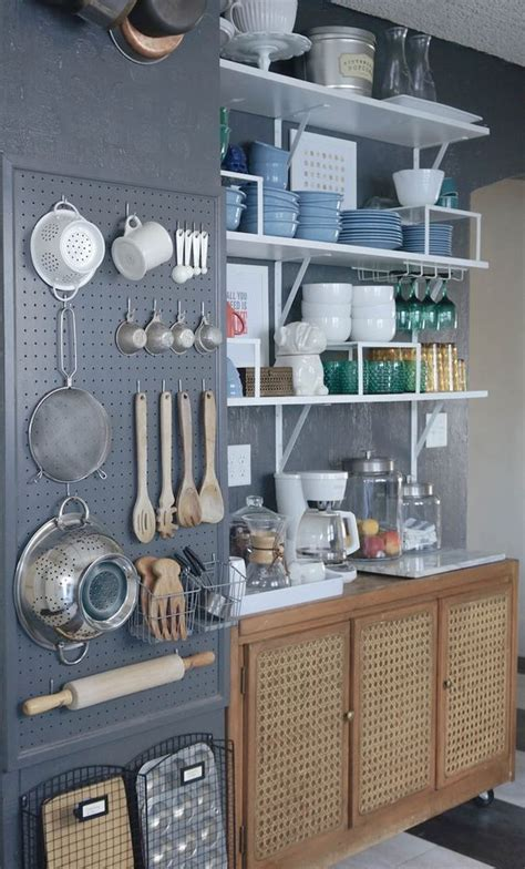 pegboard kitchen organizer 27 smart kitchen wall storage ideas shelterness 1445