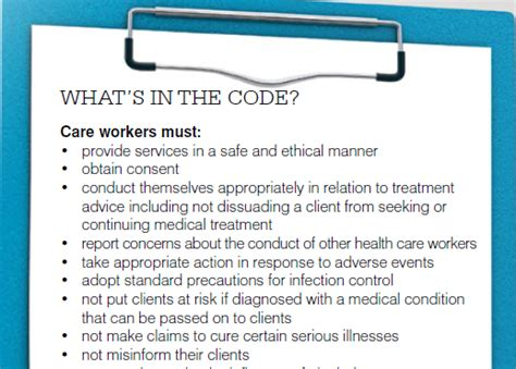 code  conduct covering aged care workers