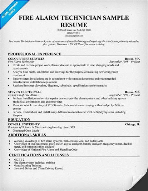 fire alarm technician resume sample http
