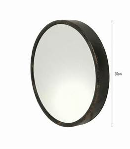 round mirror black metal diameter 30cm wadigacom With miroir rond metal