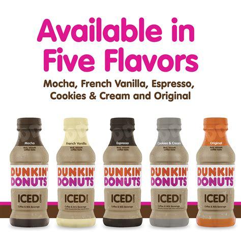 Flavors include original blend, dark roast, dunkin' decaf®, french vanilla and hazelnut. Dunkin' Donuts French Vanilla Iced Coffee Bottle, 13.7 fl ...