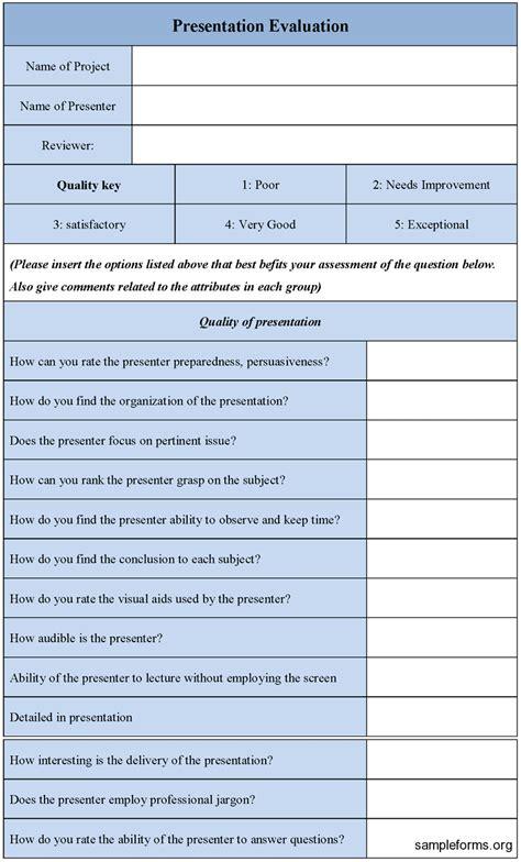 evaluation form presentation evaluation form sle forms