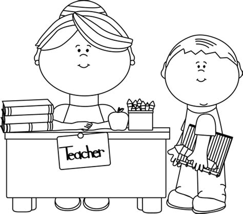 classroom clipart black and white black and white and student clip black and