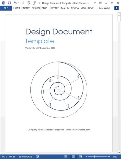 design document templates ms wordexcel data dictionary