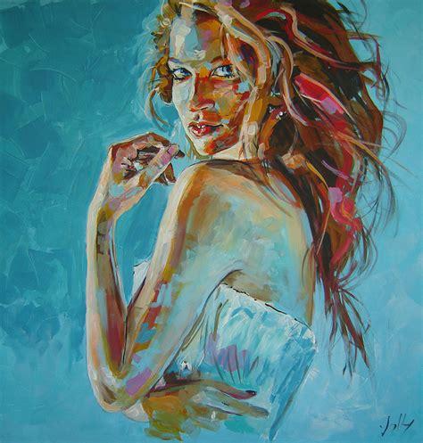 tableau 224 l acrylique sur toile 80x60 cm femme de jolimage illustrateur dessin portrait