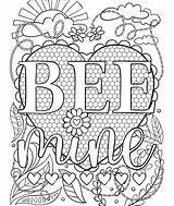 Coloring Crayola Bee Mine Valentine Valentines Colouring Printable Sheets Adults Adult Heart Stitch Pikmi Pops Viatico sketch template