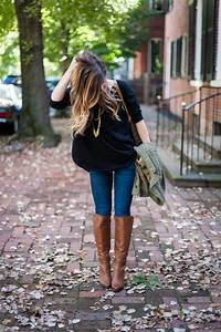 Light Brown Riding Boots Black Sweater And Brown Boots Brown Boots Outfit Brown