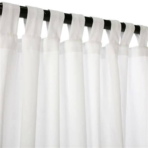 white weathersmart outdoor curtain with tabs