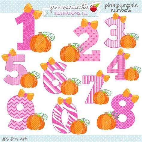 pink pumpkin numbers cute digital clipart commercial