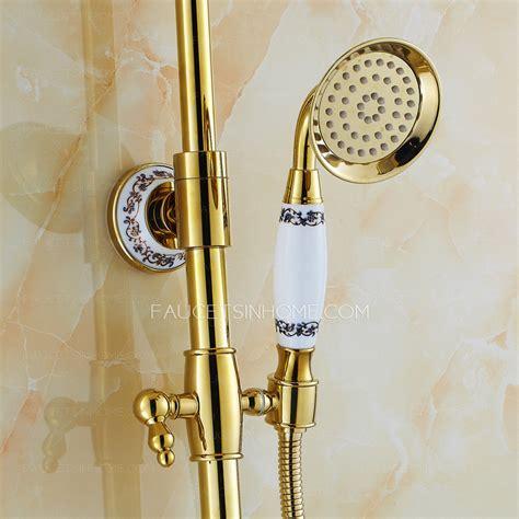 european style vintage handle ceramic brass shower faucet